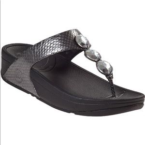 Fitflop Petra Pewter Snake Wedge Sandals